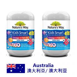 DFF2U NATURE'S WAY KIDS SMART 三种口味儿童鱼油咀嚼片 - 180粒X2
