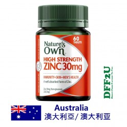 DFF2U Nature's Own High Strength Zinc 30mg 60 Tablets