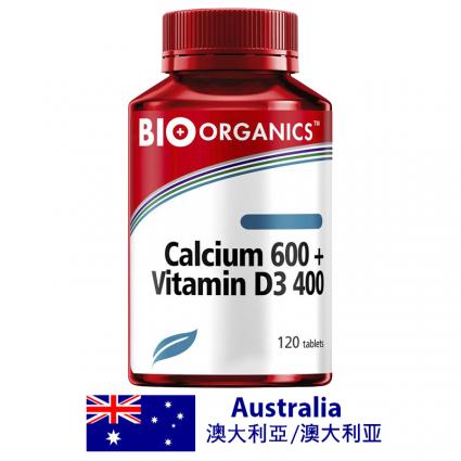 Bio-Organics Calcium 600 + Vitamin D3 400 120 Tablets